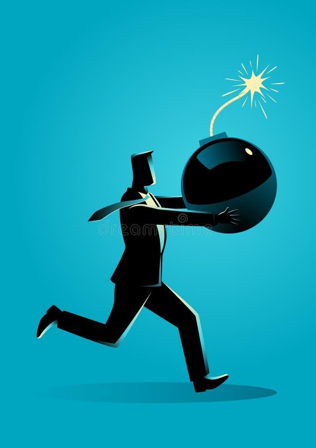 Biznesmena bieg panika z bombą w jego ręce royalty ilustracja