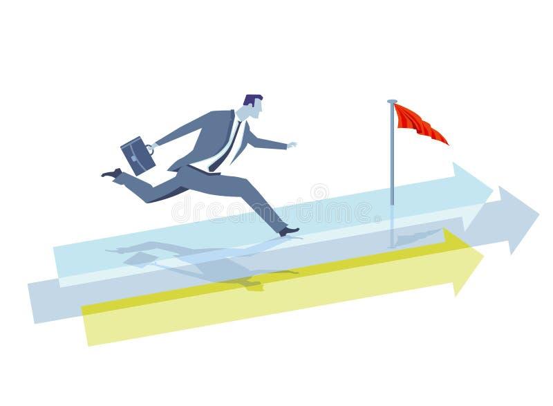 Biznesmena bieg w kierunku wygranej poczta royalty ilustracja