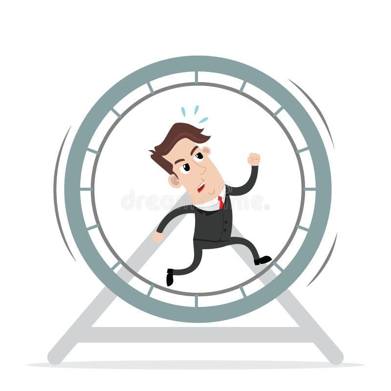 Biznesmena bieg w koło klatce ilustracja wektor