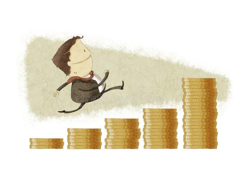 Biznesmena bieg w prętowego wykresu monecie royalty ilustracja