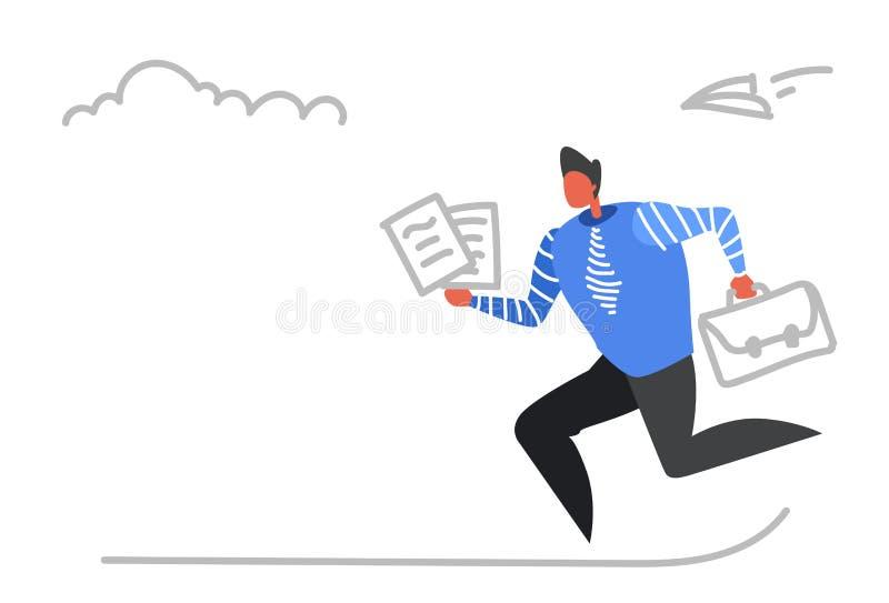 Biznesmena bieg z teczka papierowych dokumentów biznesowego spotkania ostatecznego terminu pracowitego pojęcia ruchliwie męskim u royalty ilustracja