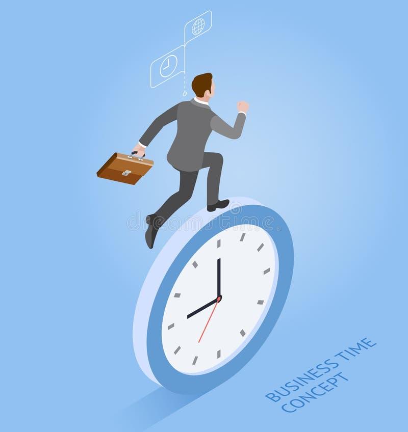 Biznesmena bieg z zegarem _ royalty ilustracja