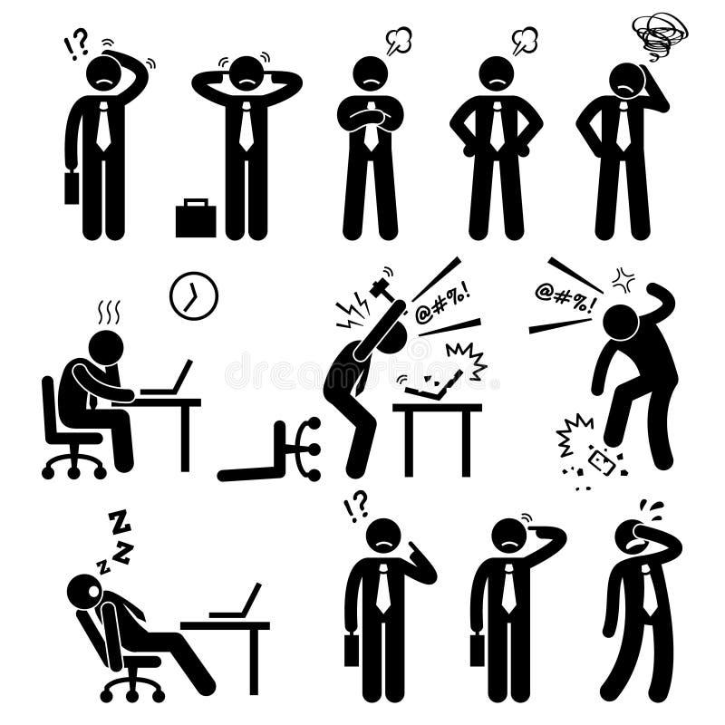 Biznesmena Biznesowego mężczyzna stresu naciska miejsce pracy Cliparts royalty ilustracja
