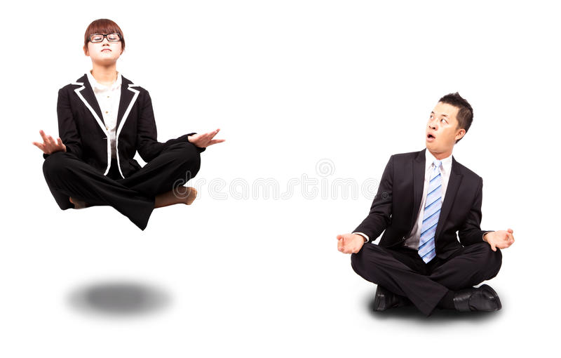 biznesmena bizneswomanu joga zdjęcie royalty free