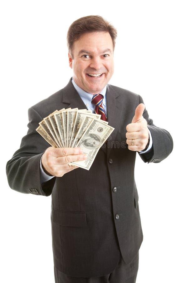 biznesmena bogactwa thumbsup zdjęcia royalty free