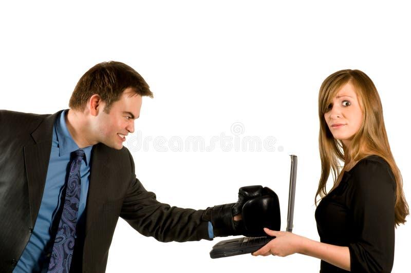 biznesmena bokserski laptop obrazy stock