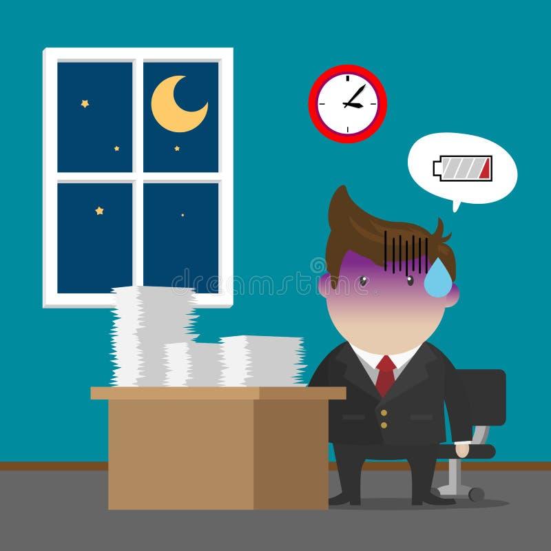 Biznesmena Burnout syndrom ilustracji