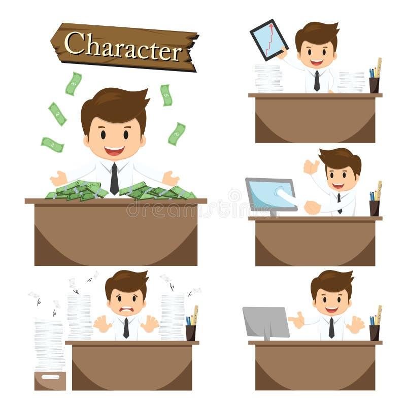 Biznesmena charakter na biuro ustalonym wektorze ilustracja wektor