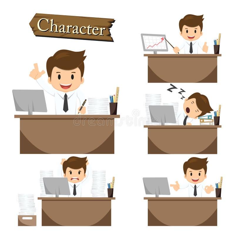 Biznesmena charakter na biuro ustalonym wektorze ilustracji