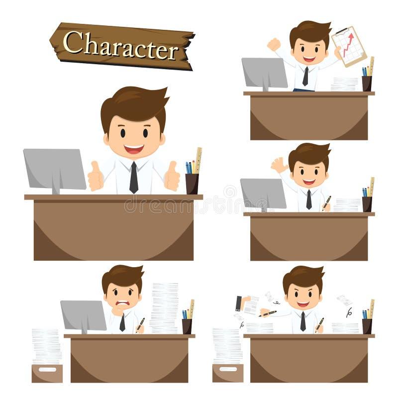 Biznesmena charakter na biuro ustalonym wektorze royalty ilustracja