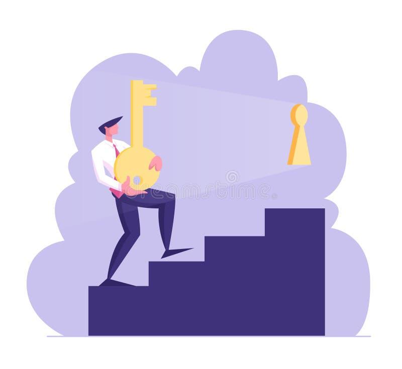 Biznesmena charakter Niesie Ciężkiego Ogromnego złoto klucz Na piętrze Próbuje Otwierać Keyhole Przywódctwo, kariera przyrost, Bi royalty ilustracja