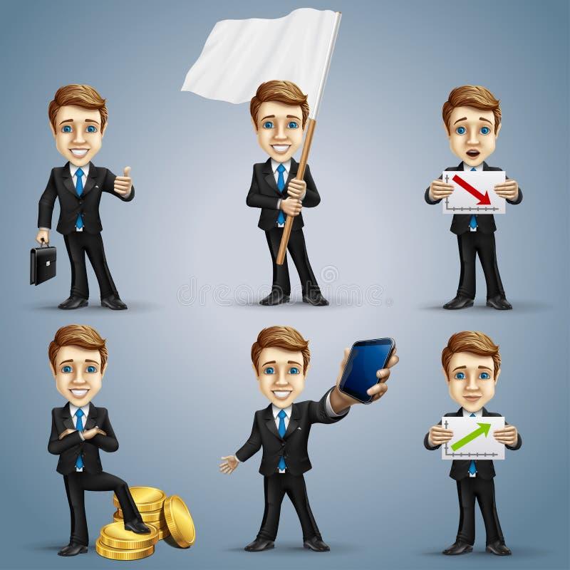Biznesmena charakter - set ilustracji