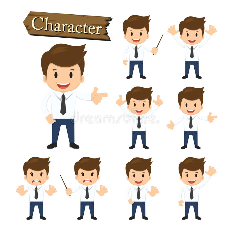 Biznesmena charakter - ustalona wektorowa ilustracja ilustracja wektor