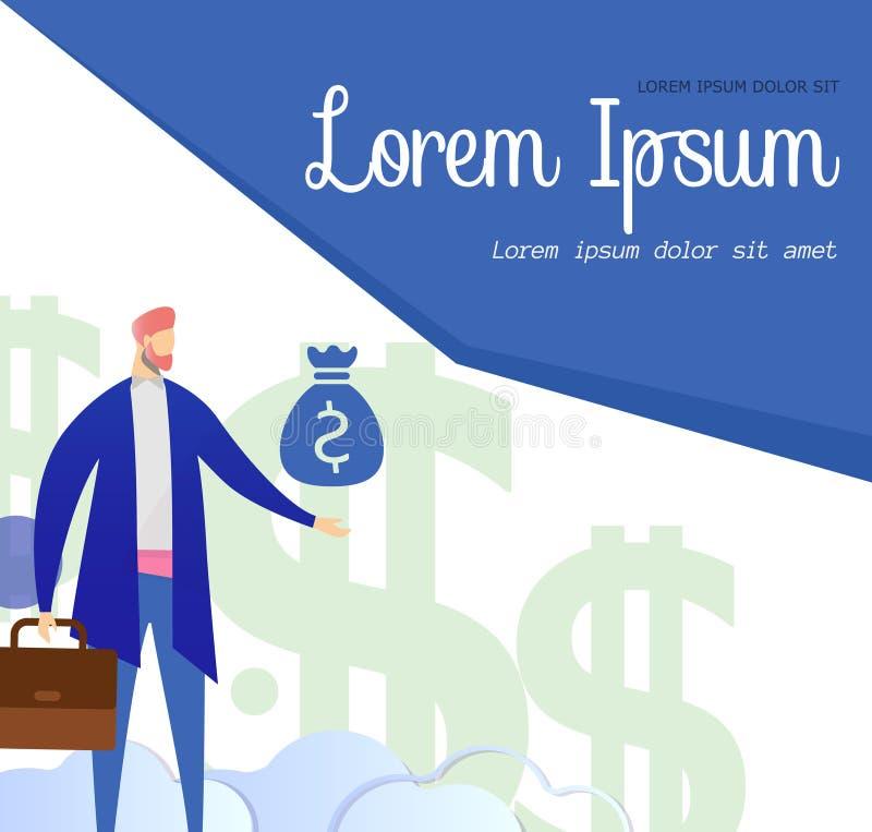 Biznesmena charakter Wskazuje na pieniądze torby sztandarze ilustracja wektor