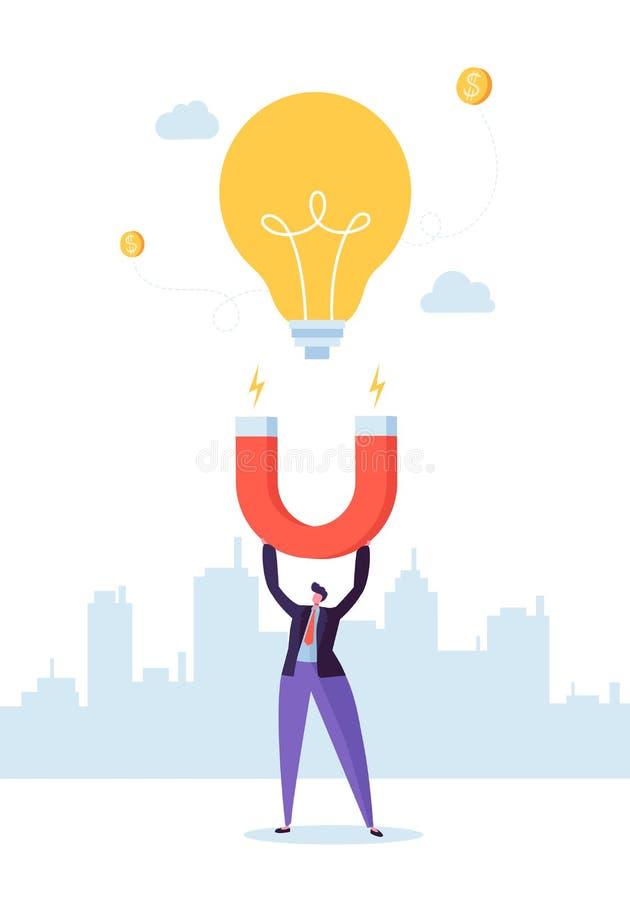 Biznesmena charakter z Dużym magnesem Przyciąga Nową pomysł żarówkę Biznesowy innowaci pojęcie ilustracja wektor