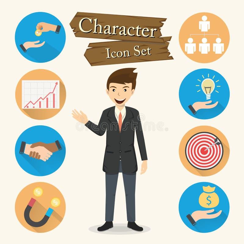 Biznesmena charakteru ikony ustalony wektor royalty ilustracja
