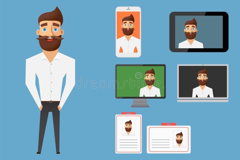 Biznesmena charakteru projekta kolekcja Set młody męski chara royalty ilustracja