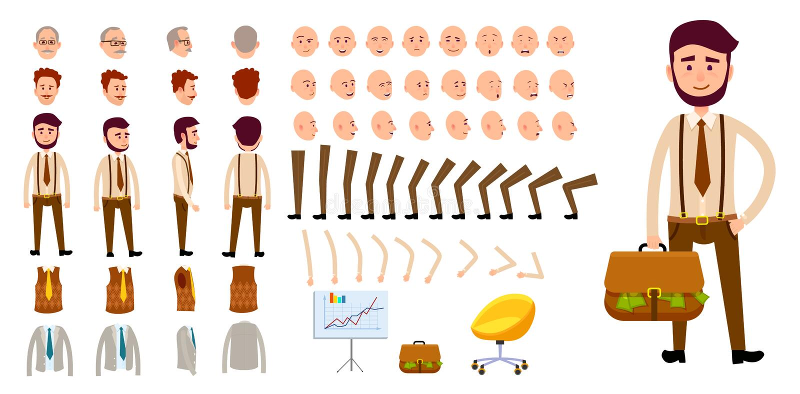Biznesmena charakteru tworzenia set Kreskówka projekt ilustracja wektor