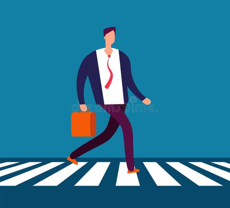 Biznesmena chodzący crosswalk Mężczyzna w kostiumu iść biurowy skrzyżowanie ulicy Biznesowy wektorowy pojęcie ilustracja wektor