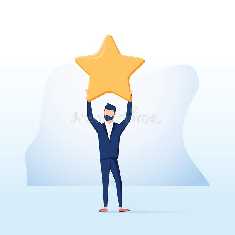 Biznesmena chwyt duża złoto gwiazda Zwycięstwo, oszacowywa Wektor, ilustracja, mieszkanie Pozytyw gwiazdowa informacje zwrotne Zw royalty ilustracja