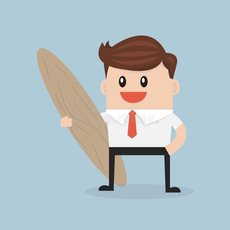 Biznesmena chwyt surfboard, wektorowego illustion projekta płaski styl ilustracja wektor