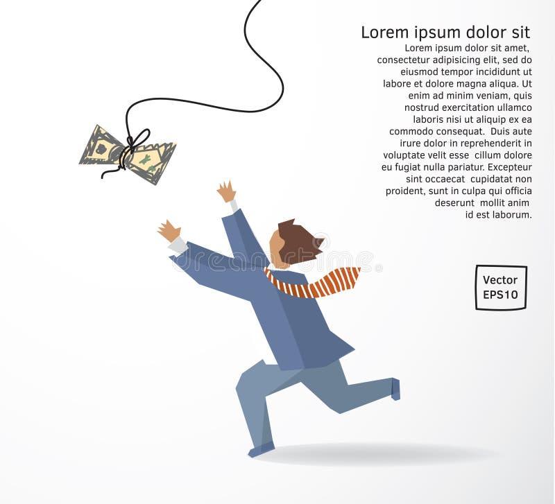 Biznesmena chwyta pieniądze dolara bieg mieszkania rysunek ilustracja wektor