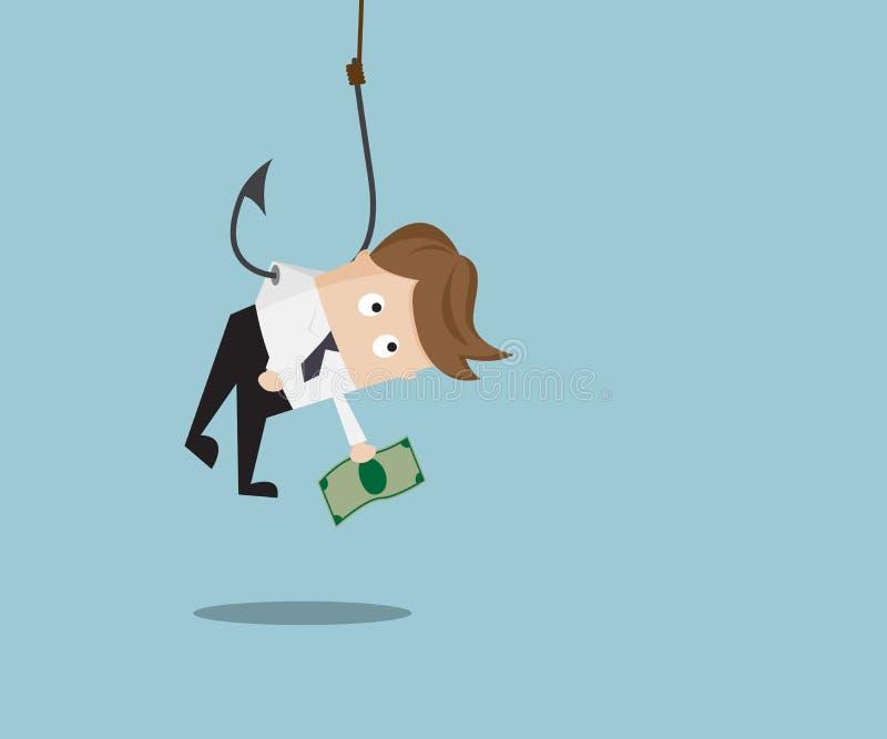 Biznesmena chwyta pieniądze Wieszać z połowu haczykiem ilustracja wektor