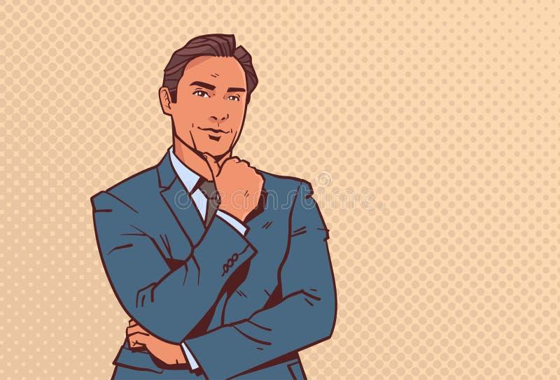 Biznesmena chwyta ręki palec na podbródka biznesowym mężczyźnie rozpamiętywa męskiego postać z kreskówki portreta wystrzału sztuk royalty ilustracja