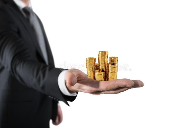 Biznesmena chwyta stosy pieniądze Pojęcie sukcesu i firmy przyrost zdjęcia stock
