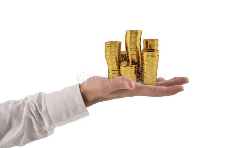 Biznesmena chwyta stosy pieniądze Pojęcie sukcesu i firmy przyrost zdjęcie stock