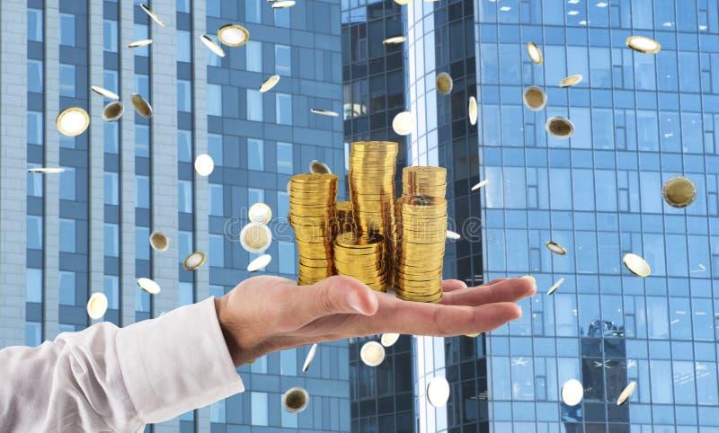 Biznesmena chwyta stosy pieniądze Pojęcie sukcesu i firmy przyrost fotografia royalty free