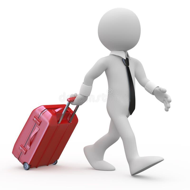 biznesmena ciągnięcia czerwony walizki tramwaj ilustracja wektor