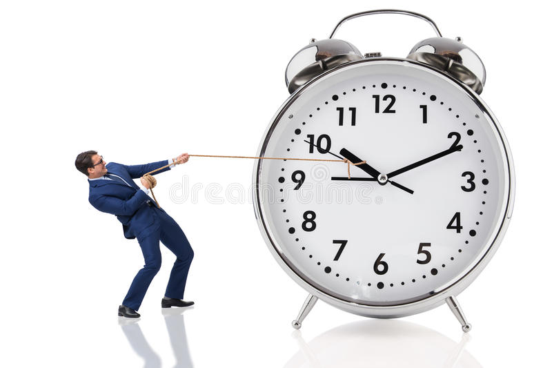 Biznesmena ciągnięcia zegar w czasu pojęciu obraz royalty free