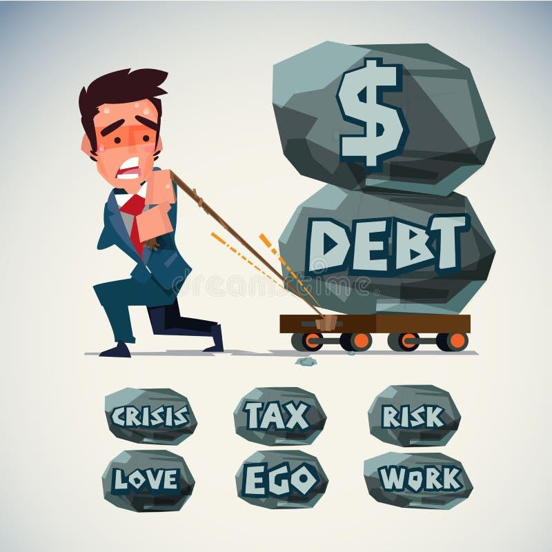 Biznesmena ciągnienia tramwaj z ciężkim kamieniem pieniądze dług ilustracji