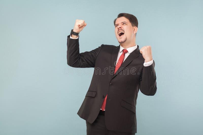 Biznesmena cieszenia wygrana zdjęcia royalty free