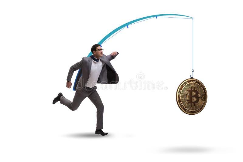 Biznesmena cyzelatorstwa pieniądze na połowu prąciu zdjęcie stock