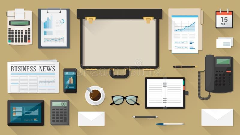 Biznesmena desktop z teczką ilustracji