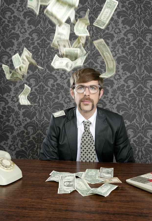 biznesmena dolarowy latający głupka notatki biuro retro obrazy royalty free