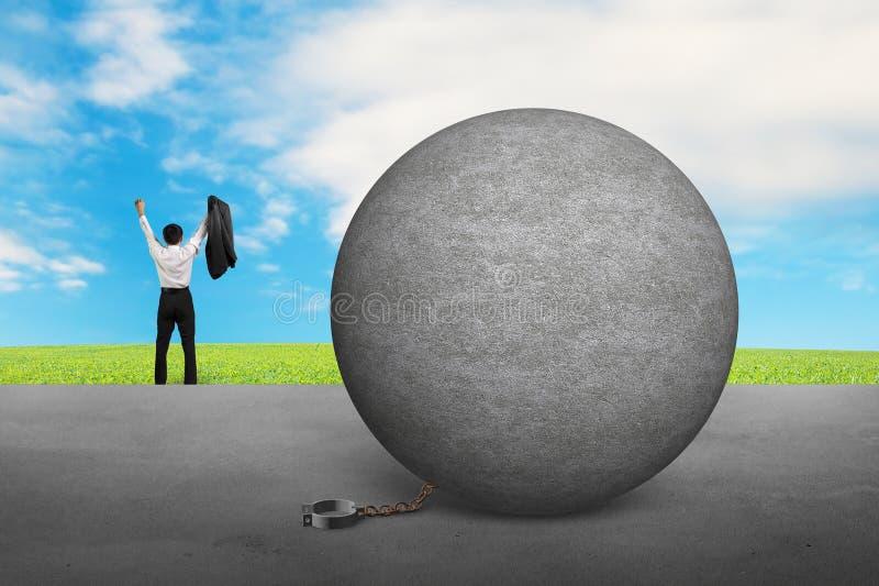 Biznesmena doping dla bezpłatnego od betonowej balowej szakli royalty ilustracja