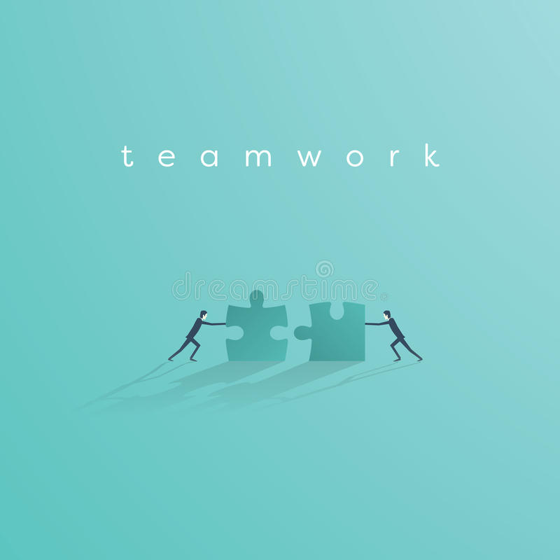 Biznesmena dosunięcia wyrzynarki łamigłówka uzupełniać mnie Biznesowy pracy zespołowej pojęcia wektoru symbol Pomysł współpraca i ilustracji