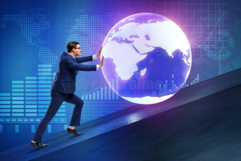 Biznesmena dosunięcia ziemia w biznesowym pojęciu obraz stock