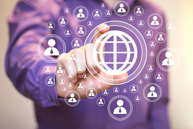 Biznesmena dotyka guzika interfejsu mapy znak ilustracji