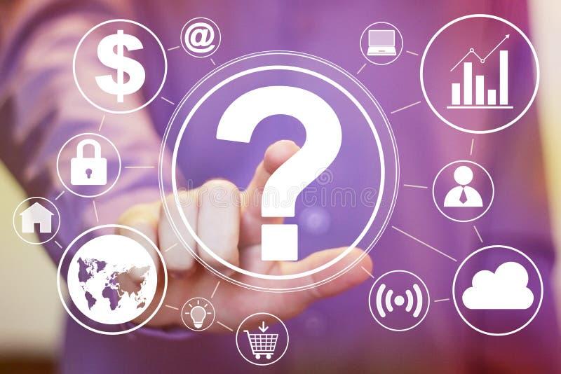 Biznesmena dotyka guzika interfejsu pytania ikony sieci set ilustracja wektor
