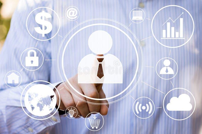 Biznesmena dotyka guzika interfejsu sieci biznes royalty ilustracja