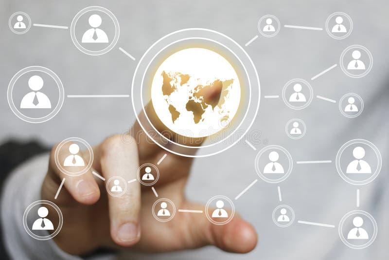 Biznesmena dotyka guzika sieci mapy komunikaci ikona ilustracja wektor