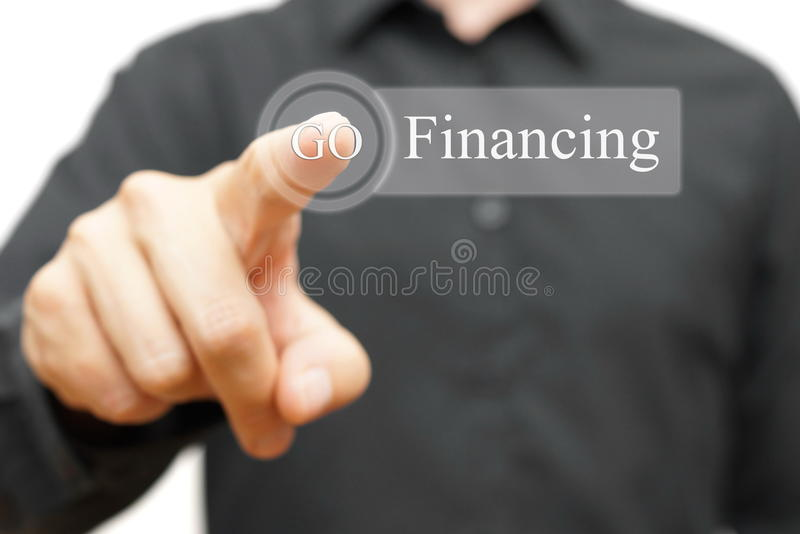 Biznesmena finansowania naciskowy guzik zdjęcie royalty free