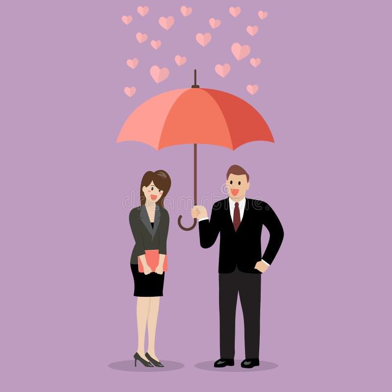 Biznesmena flirt z kobietą pod parasolem ilustracji