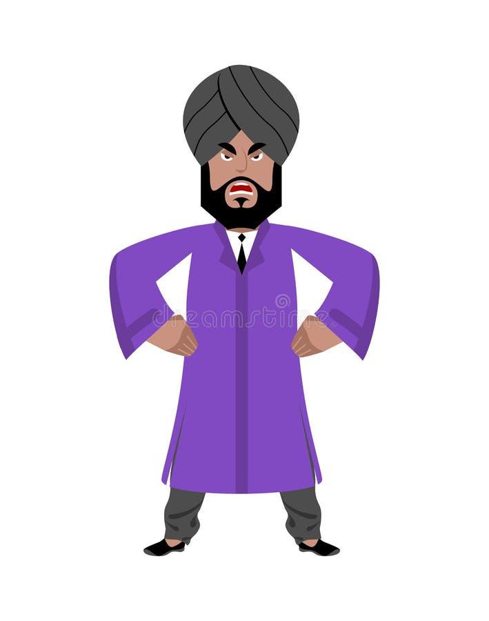 biznesmena gniewny hindus Mężczyzna od India w obywatelu odziewa royalty ilustracja