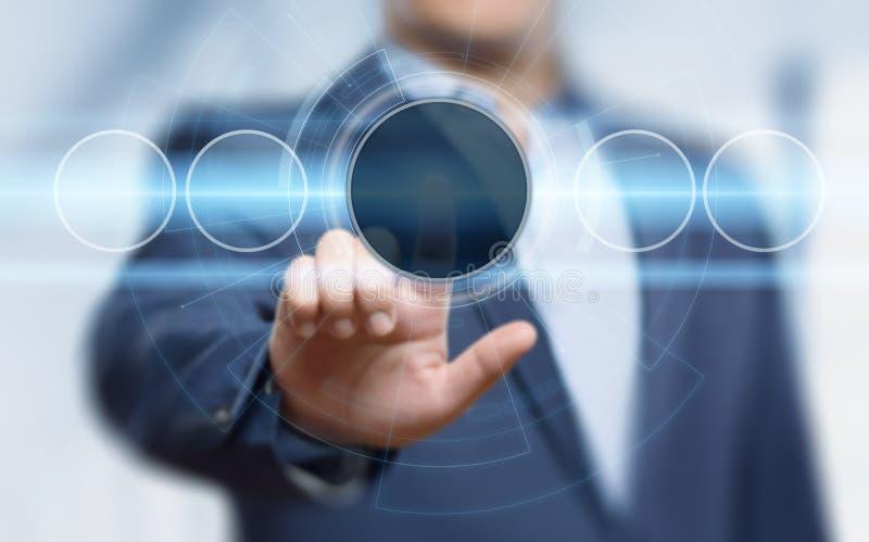 biznesmena guzika odciskanie Innowaci technologii interneta biznesu pojęcie Przestrzeń dla teksta fotografia royalty free