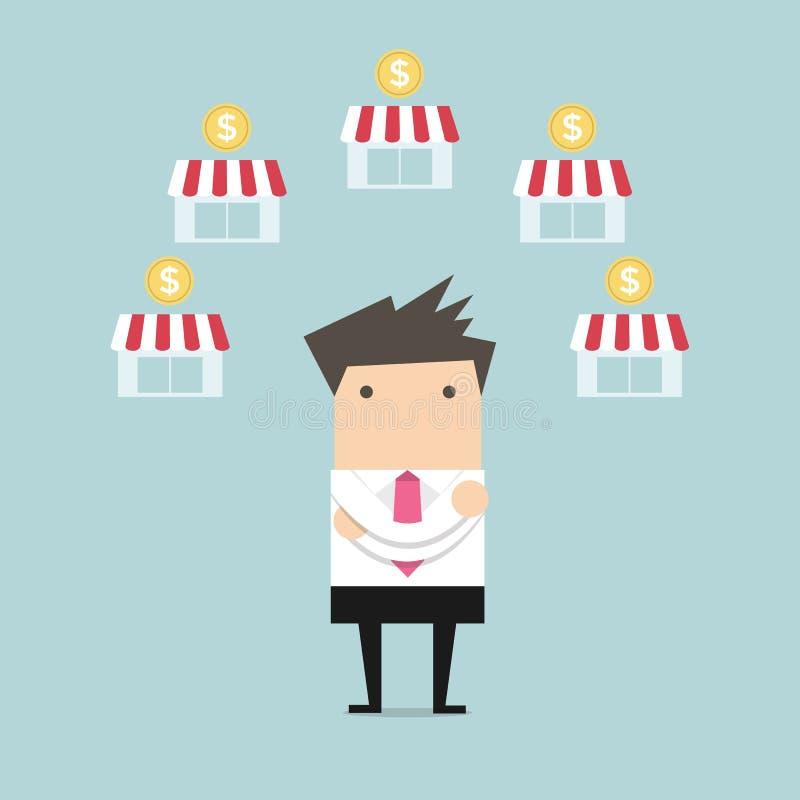 Biznesmena heblowania przywileju biznes royalty ilustracja